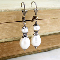 Pirate Wedding Earrings with Freshwater Pearls and gunmetal findings - Pirate Jewelry - Wedding Jewelry