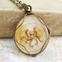 Steampunk Octopus Necklace - brass wire wrapped glass cabochon - Octopus Jewelry - Made to Order