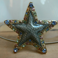Vintage Star Pin with Rhinestones by EitherOrFinds on Etsy