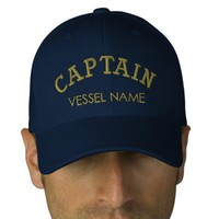 Personalised Boat Name Captain Hat Embroidered Hats from Zazzle.com