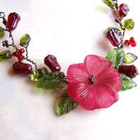 Red Flower Necklace left by the Fairies - Twisted Wire Necklace