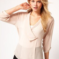 ASOS Blouse With Drop Collar And Wrap Front at asos.com