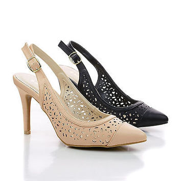 Casper02 Laser Perforated Cut Out Design Slingback Stiletto Dress Sandals