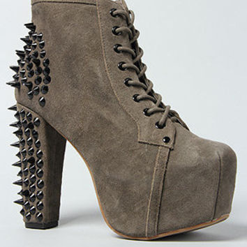 The Spike Shoe in Gray Suede and Black
