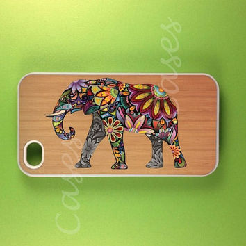 Iphone 4 Case - Elephant Art on Wood  Iphone Case, Iphone 4s Case