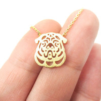 Pug Puppy Dog Face Cut Out Shaped Pendant Necklace in Gold | Animal Jewelry - Pug Silhouette Charm Necklace in Gold