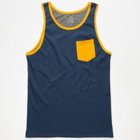 Blue Crown Color Block Mens Pocket Tank Blue  In Sizes