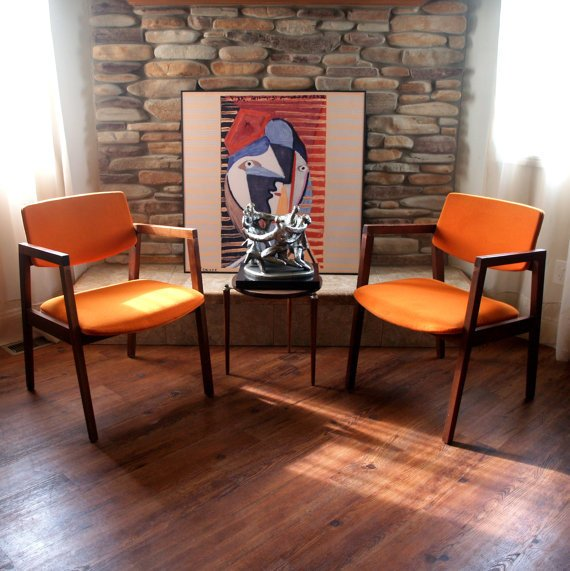 Mid century modern chairs burnt orange from aces finds vintage for Burnt orange accent chair