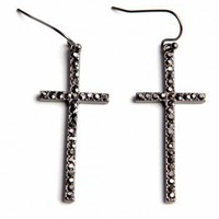Crystal Cross Earrings at iLoveFringe.com