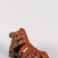 Strappy Buckled Round Toe Sandal Bootie