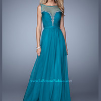Sheer Boat Neckline Ruched And Beaded La Femme Prom Dress 20956