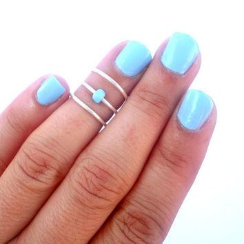 Above the Knuckle Rings -  Sky Blue  Above Knuckle Ring -  Pop of color - Set of 3 by Tiny Box