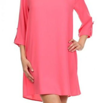 Solid color, pleated, shift dress with cuffed sleeves.