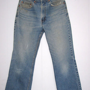 """Vintage Levi's Boot Cut Blue Jeans 30"""" USA Distressed Worn Stained Faded 32X30"""