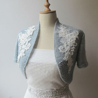 Bridal Bolero Wedding Shrug  Wrap Capelet  beaded lace shawl jacket Half sleeve Made to Order