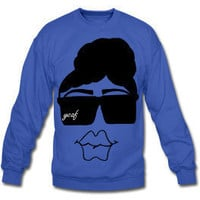 Unisex Natural Boss Lady Crewneck Sweatshirt-Royal Blue