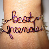 Purple Best Friends Bracelets Silver Plated and Purple Copper Wire Set of Two