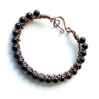 Black bead bracelet - onyx gemstones & copper bangle