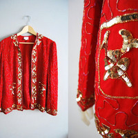 Circus Ring - Vintage 80s Red Gold silk sequin circus Party Trophy top Jacket Coat New Years