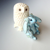 Aqua Blue Bunny Rabbit Pendant Moveable Limbs Lop Ears