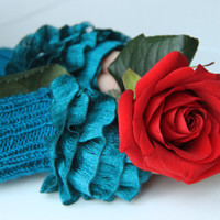 Fingerless Gloves, cozy hand knitted mittens Hand  Knit elegant ruffled teal gloves, frilly glovesteal colored ruffle