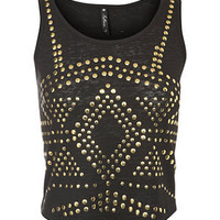 Black Burnt Out Studded Crop Top