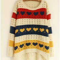 Candy Love Loose Scoop Autum and Winter Long Sleeve Euro Sweet Knitting Women White Sweater Cardigans One Size @AY1076w $11.48 only in eFexcity.com.