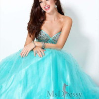 A-line Sweetheart Floor-length Tulle Popular Prom Dress with Rhinestone at Msdressy