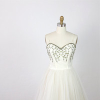 Beaded Vine White Tulle Vintage Wedding Dress by salvagelife