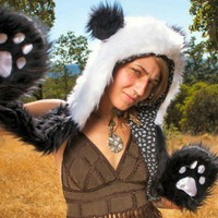 Faux Fur Panda Hooded Hat with Hand Pockets - Whimsical & Unique Gift Ideas for the Coolest Gift Givers