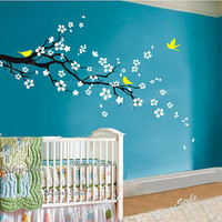 plum blossom with Flying Birds -Vinyl Wall Decal,Sticker,Nature Design