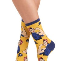ModCloth Vintage Inspired Simply Riveting Socks in Yellow