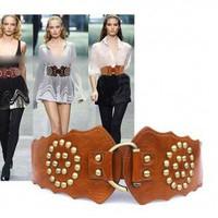 Faux Leather Stud Elastic Waist Belt