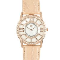 light orange raised numerical dial watch