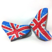 Glitter Union Jack Wedge Pumps