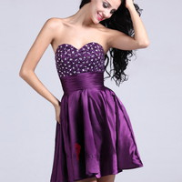 A-line Sweetheart Elastic Woven Satin Short/Mini Grape Rhinestone Homecoming Dress at Msdressy