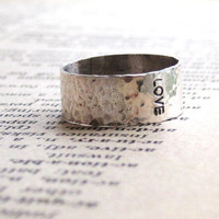 LOVE Ring - Stamped and Hammered Sterling Silver Band - Made to Order