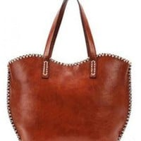 Brown Vintage Totes Bag With Quilted$37.00
