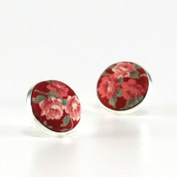Stud Earrings - Sunset Roses - Red Pink Green Burgundy Maroon Fabric Covered Buttons Earrings - Romantic Silver Toned Jewelry