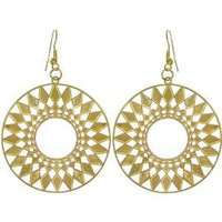 "1 7/8"" Lightweight Filigree Sun Earrings In Gold: Jewelry"