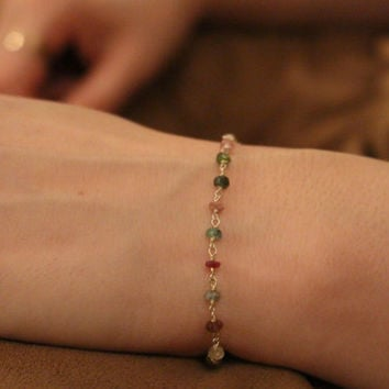 Layered Bracelet - 5 Chain-  Tourmaline- Sterling SIlver