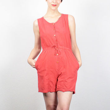 Vintage 80s Romper Faded Red Playsuit 1980s Romper Cinch Waist Overalls Jumper Shortalls Shorts Jumpsuit One Piece Outfit S Small M Medium