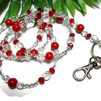 Red and Crystal Beaded Lanyard Necklace Gemstone Angel Breakaway