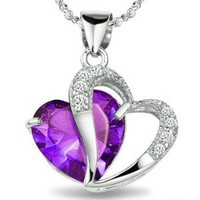 Rhodium Plated 925 Silver Diamond Accent Amethyst Heart Shape Pendant Necklace 18&amp;quot;-sn3017: Jewelry