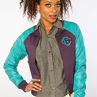 The Apache Varsity Bomber Jacket in Mulberry