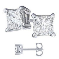 Nickel Free Platinum Rodium Finish Cubic Zirconia Princess Cut 925 Sterling Silver Stud Earrings. 4 Carat Total Weight Princess Cut Cubic Zirconia. 2 Carat Each Stone: Jewelry