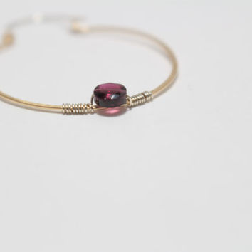 Hoop Earrings with Genuine Garnet Gemstones-Two Toned Sterling Silver and Gold Filled-Hand Forged