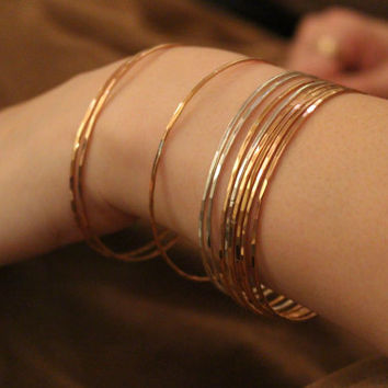 Hammered Faceted Bangles - PERFECT SET OF 3- Sterling Silver, Rose Gold Fill, Gold Fill