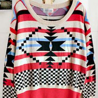 Geometric pattern round neck Bat-sleeved sweater  S000278