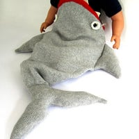 Handmade Knitted Baby Shark Sleeping Bag  by TheMiniatureKnitShop